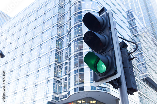 Poster Green Traffic Light in the city