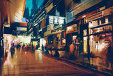 Fototapety colorful painting of night street.illustration