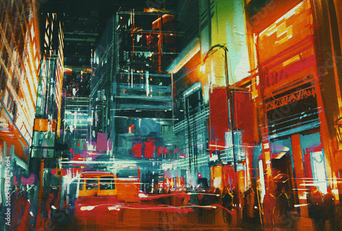 city street at night with colorful lights,digital painting - 93745694