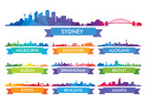 Fototapety Colorful сity skyline Australia and the Island country
