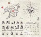 Set in medieval cartography poster