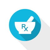 Blue vector icon - pharmacy symbols