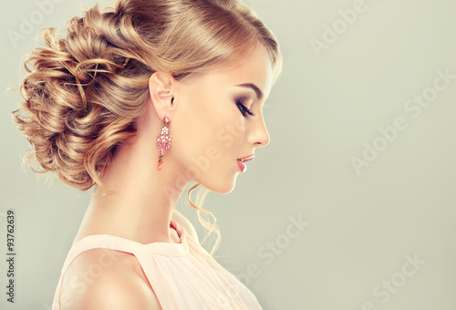 Beautiful model with  elegant hairstyle Poster