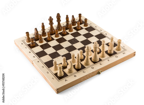 Poster Chess board with chess wooden pieces isolated on white