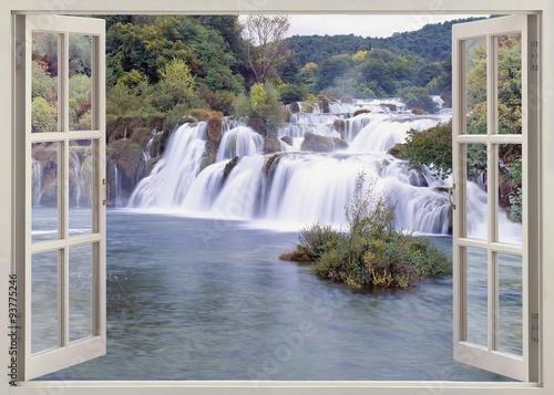 Plakat Open windw view to Krk falls