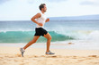 Detaily fotografie Fitness sports runner man jogging on beach