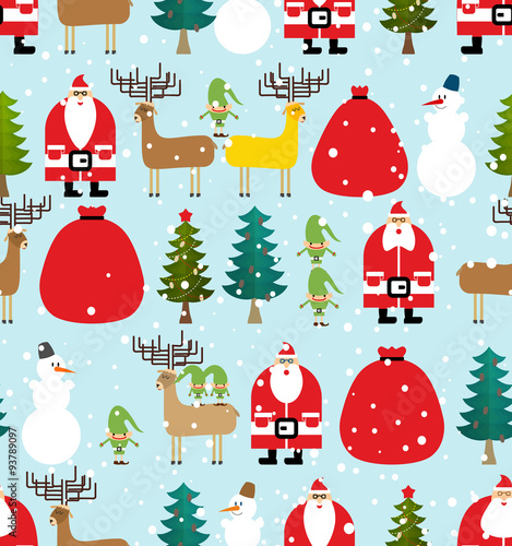Materiał do szycia Winter pattern for Christmas and new year. Seamless background f