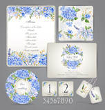 Fototapety Set of templates for celebration, wedding. Blue flowers. Watercolor blue hydrangea, lavender, currant. Invitation card, letterhead, numbering for tables and different elements.