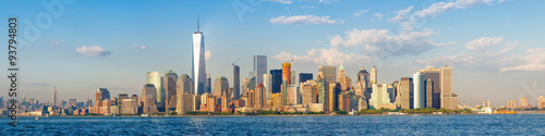 Poster New York High resolution panoramic view of the downtown New York City skyline seen from the ocean