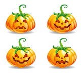 Halloween punpkins vector isolated in white background