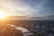 London city aerial view over skyline with dramatic sky and landm