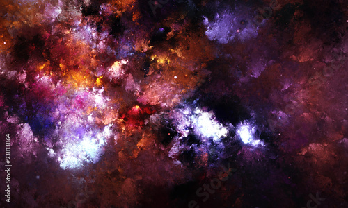 Digital abstract painting of a galaxy nebula with stars in space.