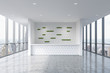 A reception area in a modern bright clean office interior. Huge panoramic windows with New York view. A concept of boutique consulting services. 3D rendering.