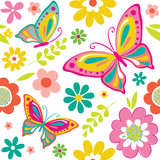 spring pattern with cute butterflies suitable for gift wrap or wallpaper background.  EPS 10 & HI-RES JPG Included