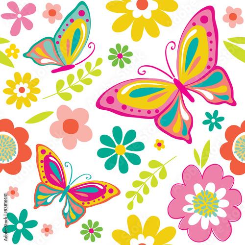 wiosna wzór z słodkie motyle nadaje się do pakowania prezent lub tapeta tło. EPS 10 i HI-RES JPG w zestawie