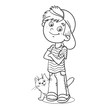 Coloring Page Outline Of a Boy with his cat