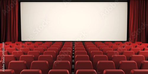 Cinema screen with open curtain. 3d.