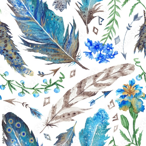 Cotton fabric Boho Watercolor Pattern