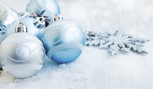 Silver and Blue Christmas Balls with Sparkle and Snow