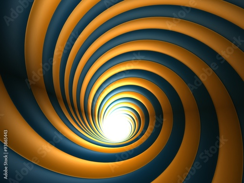 3d Orange And Blue Abstract Vortex