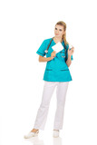 Female nurse holding gauze and hydrogen peroxide poster