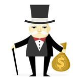hombre adinerado magnate con dinero