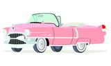 Caricatura Cadillac convertible abierto 1955 rosado vista frontal y lateral