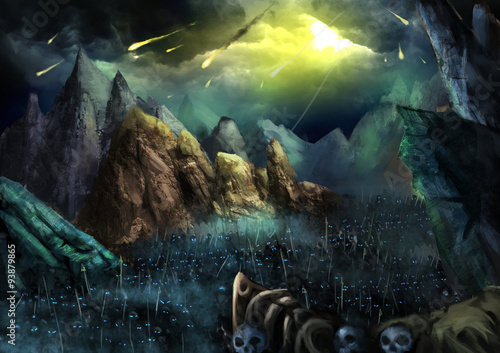 Illustration: War is going to begin! Fire Ball fall from Sky. The Dark Skeleton Armies Marching in the Valley. Fantastic Cartoon Style Wallpaper Background Scene Design. © NextMars