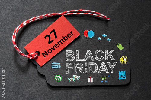 Poster Black Friday November 27 text on a black tag