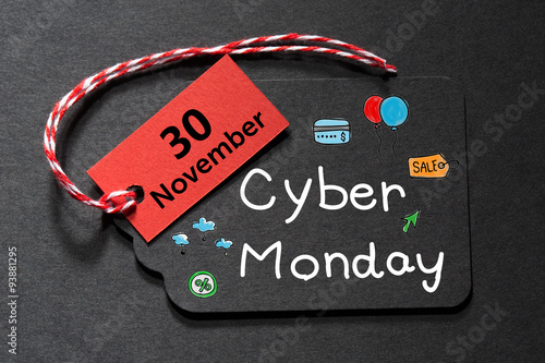 Poster Cyber Monday November 30 text on a black tag