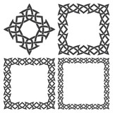 Set of magic knotting frames and celtic cross. 4 square decorative elements with stripes braiding for your design.