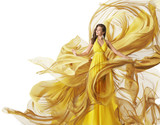 Fototapety Fashion Model Dress, Woman in Flowing Fabric Gown, Clothes Flow