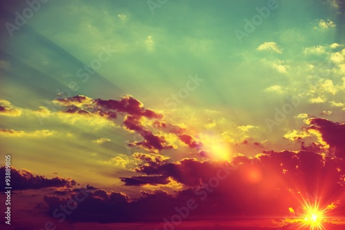 In de dag Ochtendgloren Sunset Scenery Background