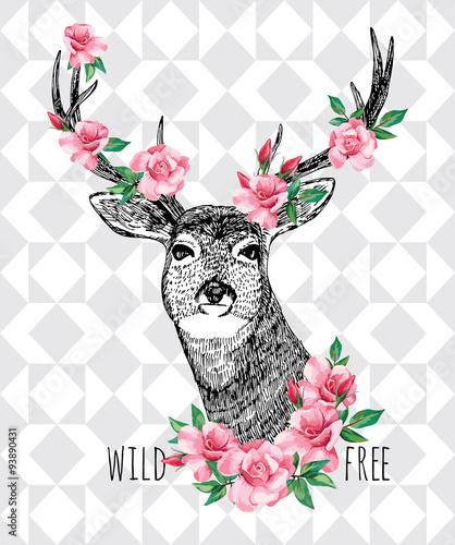 Zdjęcia na płótnie, fototapety, obrazy : Wild and free. Deer with roses hand drawn illustration