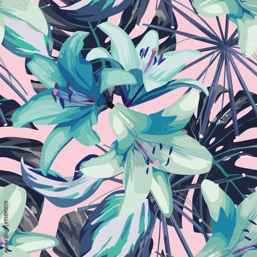 blue lily and leaves seamless background