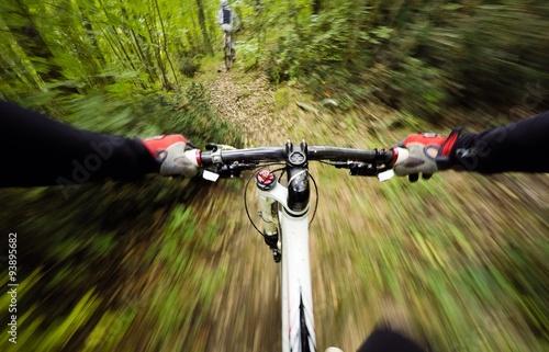 Zdjęcia na płótnie, fototapety, obrazy : guidando la mountain bike nel bosco. vista in prima persona