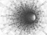 Digital 3d illustration, white bent tunnel