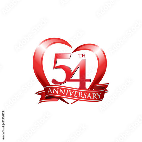 quot 54th anniversary logo red heart ribbon quot  stock image and 50th Anniversary Vector 25 anniversary logo vector