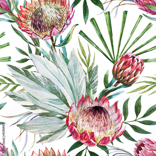 Materiał do szycia Raster tropical protea pattern