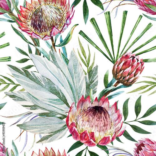 Stoffe zum Nähen Raster tropischen protea Muster