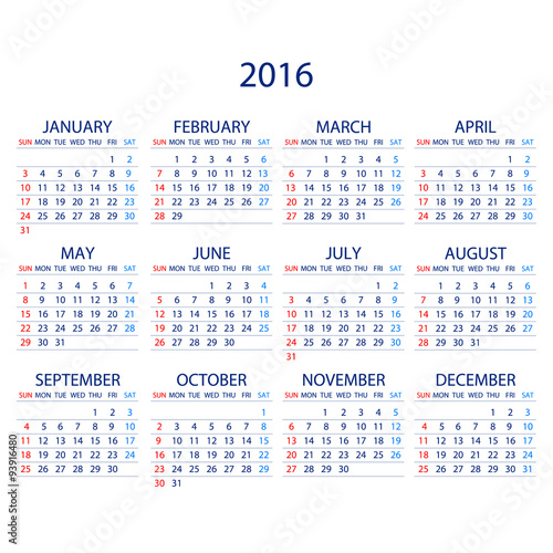 GamesAgeddon - Calendar for 2016 on White Background. Week Starts ...