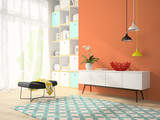 Fototapety Interior of modern design room with red vase 3D rendering 2