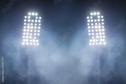Leinwanddruck Bild stadium lights and smoke