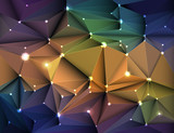 Vector illustration Abstract 3D Geometric, Polygonal, Triangle pattern in molecule structure shape and multicolored background