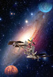 Satellite solar system space station spaceship planet interstellar galaxy. Elements of this image furnished by NASA.