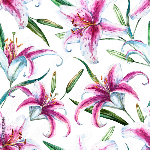 Raster tropical watercolor lilly pattern - 93927084