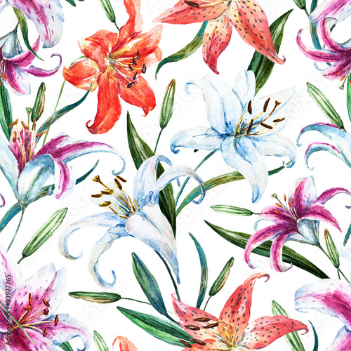 Raster tropical watercolor lilly pattern - 93927265