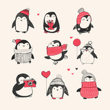 Fototapety Cute hand drawn penguins set -  Merry Christmas