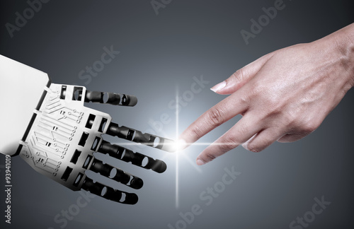 Poster Robot human hand connection