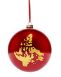 Red bauble with the golden shape of Nunavut.(series)